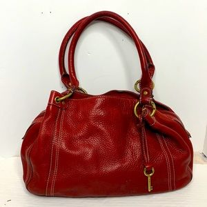 Vintage Fossil pebbled leather bag in Red